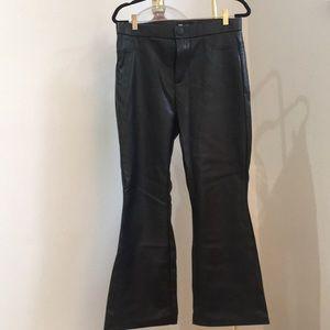 Flare leg faux leather leggings